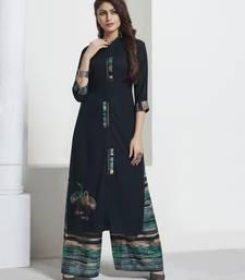 Dark-blue embroidered rayon ethnic-kurtis