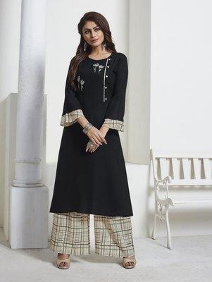 Black Embroidered Rayon Ethnic Kurtis