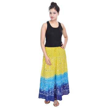 Yellow blue Cotton Long Bandhej Skirt