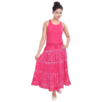 Pink Bandhani Long Cotton Skirt