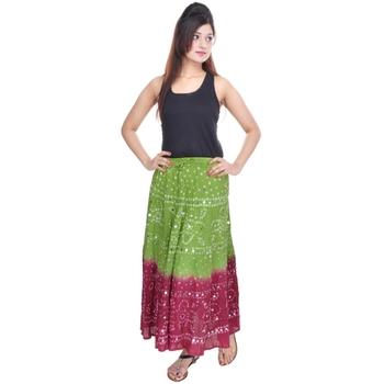 Green Maroon Bandhani Long Cotton Skirt