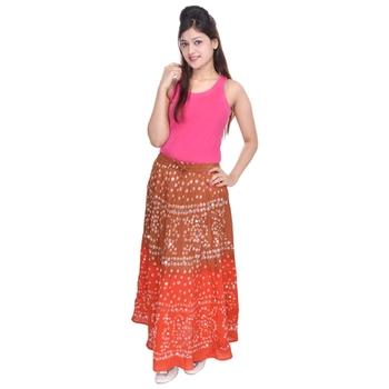 Brown Orange Cotton Bandhej Long Skirt