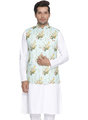 Turquoise Woven Blended Cotton Nehru-Jacket