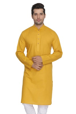 Yellow Plain Cotton Men Kurtas