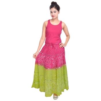 Pink Green Hand Work Bandhej Cotton Long Skirt