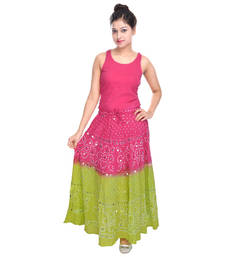 Buy Pink Green Hand Work Bandhej Cotton Long Skirt cotton-skirt online