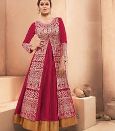 Pink resham embroidery silk salwar