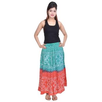 Green Orange Bandhej Cotton Long Skirt