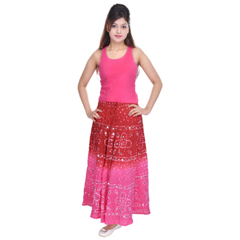 Red Pink Bandhej Hand Work Cotton Long Skirt