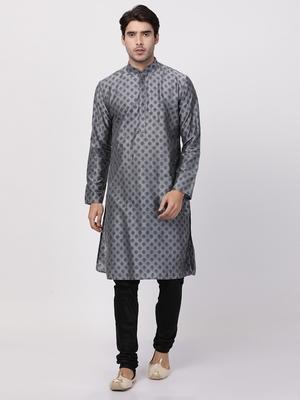 Grey plain cotton silk kurta-pajama