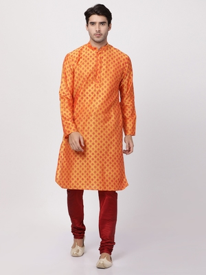 Orange plain cotton silk kurta-pajama