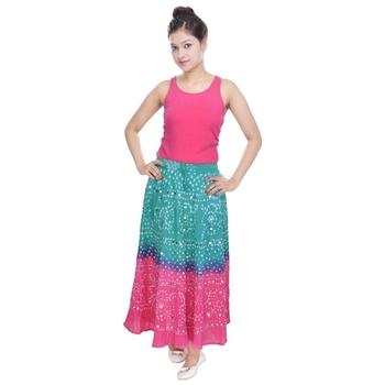 Green Pink Bandhani Long Skirt