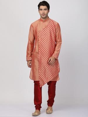 Pink plain cotton silk kurta-pajama