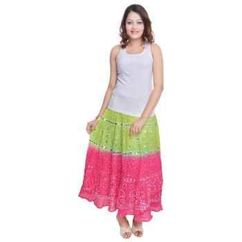 Green Pink Bandhej Cotton Long Skirt