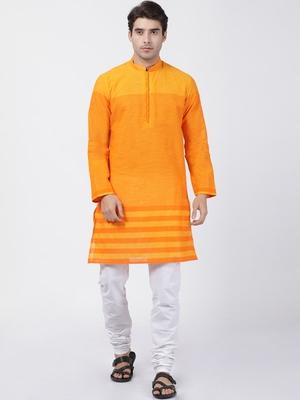 Orange plain cotton kurta-pajama