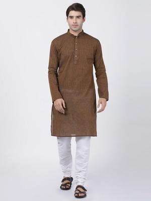 Brown plain cotton kurta-pajama