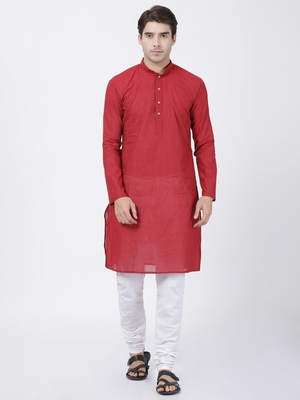 Red plain cotton kurta-pajama