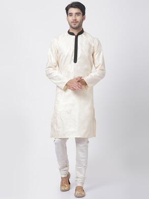 Gold plain cotton silk kurta-pajama