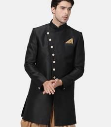 Black Plain Blended Cotton Sherwani