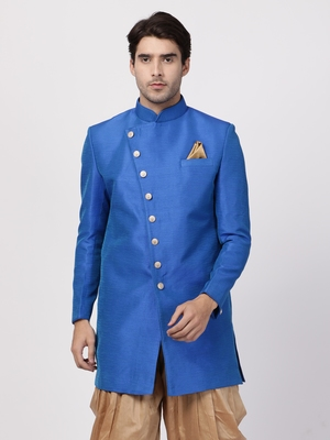 Blue Plain Blended Cotton Bandhgala