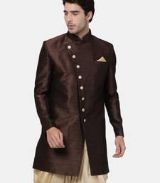 Brown Plain Blended Cotton Sherwani
