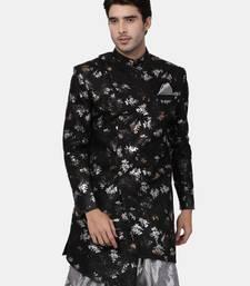 Black Plain Blended Cotton Bandhgala