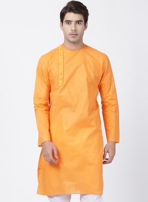 Orange plain cotton men-kurtas