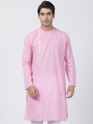 Pink plain cotton men-kurtas