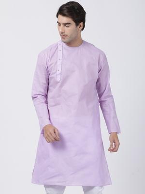 Purple plain cotton men-kurtas