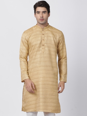 Beige Plain Cotton Silk Men Kurtas