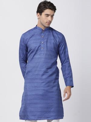 Blue plain cotton silk men-kurtas