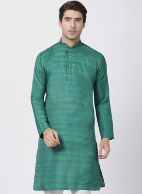 Green Plain Cotton Silk Men Kurtas