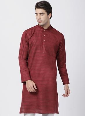 Maroon plain cotton silk men-kurtas