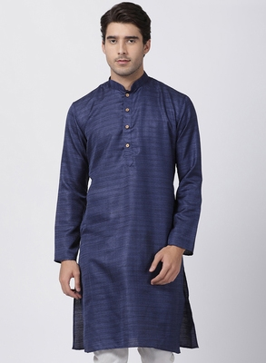 Blue Plain Cotton Silk Men Kurtas