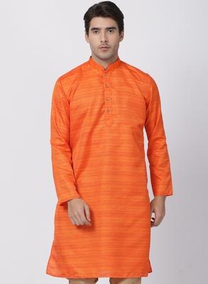 Orange plain cotton silk men-kurtas