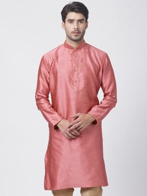 Pink plain cotton silk men-kurtas