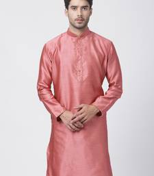 Pink plain cotton silk men-kurtas