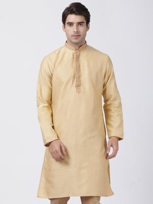 Beige plain cotton silk men-kurtas