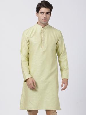 Green plain cotton silk men-kurtas