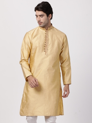 Beige plain cotton silk men-kurtas