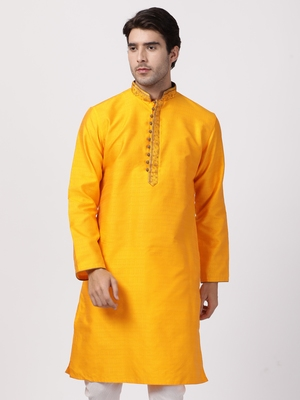 Orange plain cotton silk men-kurtas