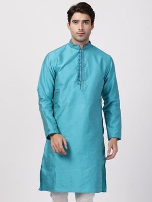 Turquoise plain cotton silk men-kurtas
