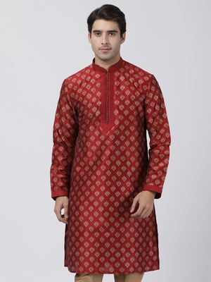 Maroon Plain Cotton Silk Men-Kurtas