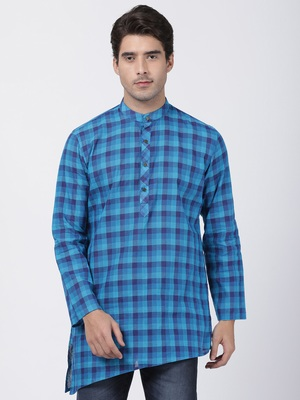 Blue plain blended cotton men-kurtas