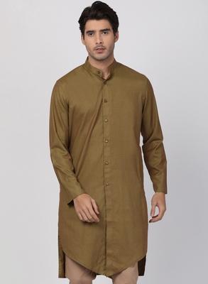 Brown plain blended cotton men-kurtas