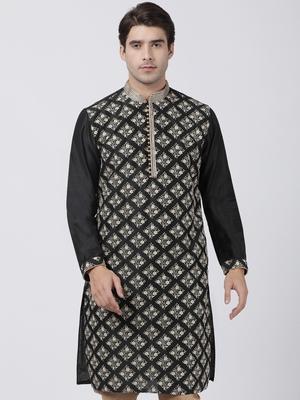 Black plain blended cotton men-kurtas