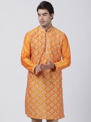 Orange plain blended cotton men-kurtas
