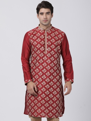 Red plain blended cotton men-kurtas