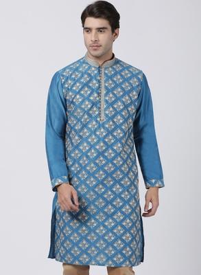 Turquoise plain blended cotton men-kurtas