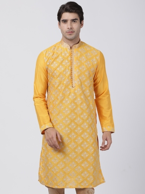 Yellow plain blended cotton men-kurtas
